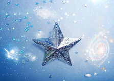Silver star with space background Royalty Free Stock Photography