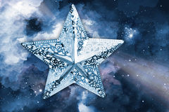 Silver star with space background Royalty Free Stock Images