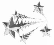 Silver Star Spray. Abstract star shape decoration 3d, over white Royalty Free Stock Photo