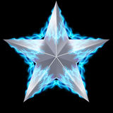Silver star surrounded by blue fire. Silver five-pointed star surrounded by blue fire on black background Stock Image