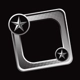Silver star on tilted silver web button Stock Photo