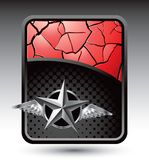 Silver star with wings on cracked red background Royalty Free Stock Image
