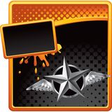 Silver star with wings on halftone advertisement Stock Image