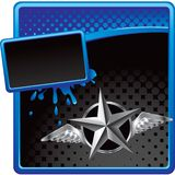 Silver star with wings on halftone advertisement Royalty Free Stock Images