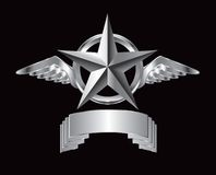 Silver star and wings over sllver nameplate Royalty Free Stock Photography