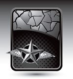Silver star with wings on silver cracked banner Royalty Free Stock Photography