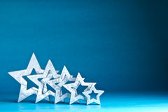 Silver stars background blue turquoise Royalty Free Stock Image