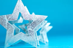 Silver stars background turquoise Stock Photos