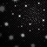 Silver stars black night sky on transparent background. Abstract bokeh glowing space design. Starry milky way. Galaxy Royalty Free Stock Images