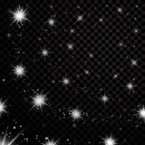 Silver stars black night sky on transparent background. Abstract light glitter. Fantasy sparkles. Shine christmas Stock Images