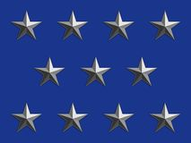 Silver Stars on Blue Stock Images