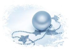 Silver stars and Christmas bauble Royalty Free Stock Images