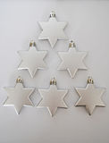 Silver stars christmas tree. Silver stars in shape of Christmas tree Royalty Free Stock Photography