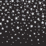 Silver stars with a gradient on a black seamless background. Vector illustration Royalty Free Stock Photography