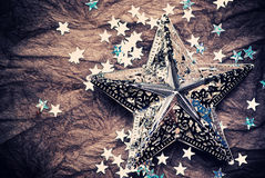 Silver Stars Over Brown Royalty Free Stock Images