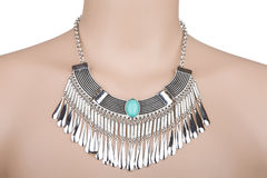 Silver statement necklace Stock Photography