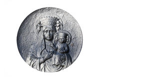 Silver statue of the Virgin Mary with the baby Jesus Christ in h Stock Photography