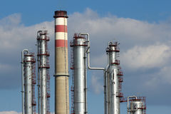 Free Silver Steel And Concrete Chimney Of Oil Refinery Stock Images - 21661224