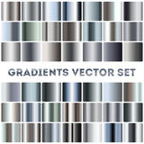 Silver, steel, chrome gradients vector set Stock Images