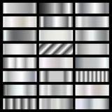 Silver, steel, chrome gradients vector set Stock Photos