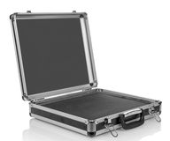 Silver steel empty suitcase Stock Photo