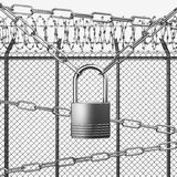 Silver or Steel Fence with Barbed Wire Stock Image