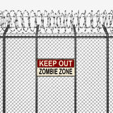 Silver or Steel Fence with Barbed Wire and Keep Out Sign Stock Image