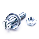 Silver steel hexagonal screw tool objects macro Royalty Free Stock Image