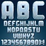 Silver Metallic Font. Vector Set of Shiny Letters Royalty Free Stock Images