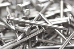Silver Steel nails Stock Image