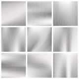 Silver, steel, titanium, aluminium metal vector brushed textures. Metallic surface material illustration Stock Image