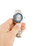 Silver steel watch Stock Photos