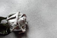 Silver steg på metallisk bakgrund för silver Royaltyfri Fotografi