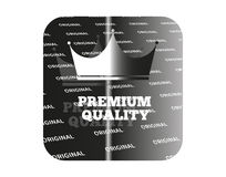 Silver sticker premium quality. Holographic sticker with the image of a crown and guaranteed product quality Royalty Free Stock Photos