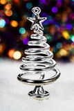 Silver stiliserad julgran Royaltyfri Fotografi