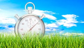 Silver stopwatch, chronometer on green grass. 3D rendering. Silver stopwatch, chronometer on green grass. 3D vector illustration