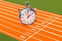 Silver stopwatch, chronometer on the running track. 3D rendering. Silver stopwatch, chronometer on the running track. 3D royalty free illustration