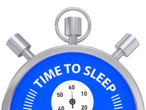 Silver Stopwatch Time to Sleep. Metal stopwatch with red words Time to Sleep Stock Photos