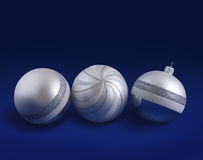 Silver striped Christmas balls Stock Photography