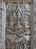 Silver Struck panels in silver temple Wat Sri Suphan Stock Images