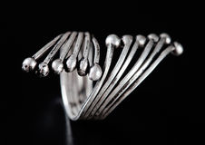 Silver stylish ring Stock Photos