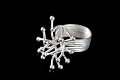 Silver stylish ring on Royalty Free Stock Photography