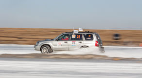Silver subaru Forester on ice track Royalty Free Stock Photography