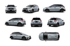 Silver Subcompact Car 5 Door Hatchback Variety of Angles. Royalty Free Stock Photo