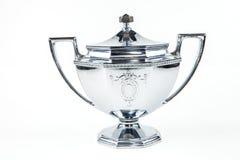 Silver Sugar Bowl. A silver sugar bowl against a white background Royalty Free Stock Photo