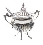 Silver sugar bowl Royalty Free Stock Image