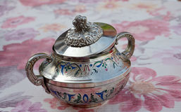 Silver sugar bowl Royalty Free Stock Photo