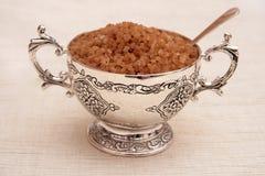 Free Silver Sugar Bowl With Spoon. Stock Photos - 7483663