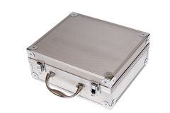 Silver suitcase isolated Stock Images