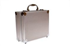 Silver suitcase isolated Royalty Free Stock Images